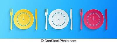 Paper cut Plate with clock, fork and knife icon isolated on blue background. Lunch time. Eating, nutrition regime, meal time and diet concept. Paper art style. Vector