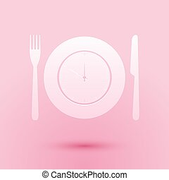Paper cut Plate with clock, fork and knife icon isolated on pink background. Lunch time. Eating, nutrition regime, meal time and diet concept. Paper art style. Vector