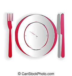 Paper cut Plate with clock, fork and knife icon isolated on white background. Lunch time. Eating, nutrition regime, meal time and diet concept. Paper art style. Vector
