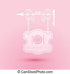 Paper cut Vintage signboard outdoor advertising with text Restaurant and cutlery, dish, fork, knife icon isolated on pink background. Restaurant sign. Paper art style. Vector