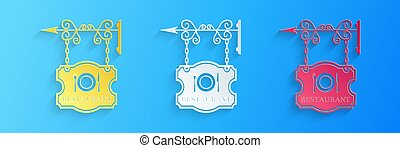 Paper cut Vintage signboard outdoor advertising with text Restaurant and cutlery, dish, fork, knife icon isolated on blue background. Restaurant sign. Paper art style. Vector