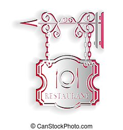 Paper cut Vintage signboard outdoor advertising with text Restaurant and cutlery, dish, fork, knife icon isolated on white background. Restaurant sign. Paper art style. Vector