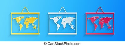 Paper cut World map on a school blackboard icon isolated on blue background. Drawing of map on chalkboard. Paper art style. Vector