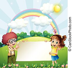 Paper design with boy and girl in the park