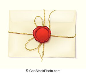Paper envelope with red wax seal vector
