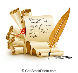 paper scripts with handwriting text and old ink feather