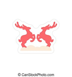 paper sticker on white background pair of deer