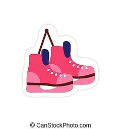 paper sticker on white background pair of skates