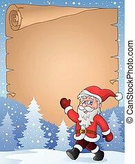 Parchment with walking Santa Claus
