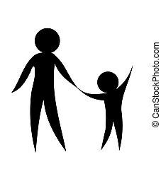 Parent and child holding hands together. Symbolic vector illustration