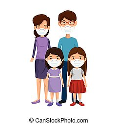 parents with daughters using face mask vector illustration design