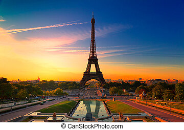 Sunrise in Paris, with the Eiffel Tower