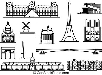 Paris. Famous landmarks and sights. outline illustration.