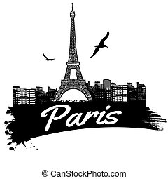 Paris in vitage style poster, vector illustration