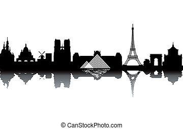 Paris skyline - black and white vector illustration