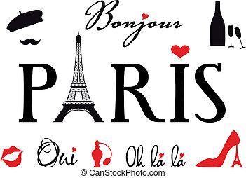 Paris with Eiffel tower, word art, set of vector design elements