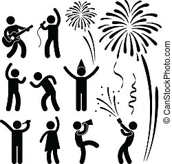 A set of people pictogram representing party, celebration, event, disco, and festival.
