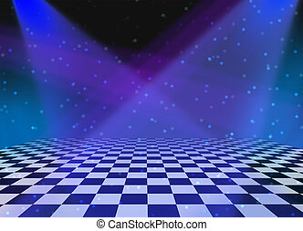 Party dance and dancing floor made of checkered tiles and shining spot lights with sparkles and luminouse reflections as a fun disco music related entertainment background for an announcement or festive message.