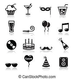 Black icons set - christmas, valentines, birthday, new year's celebration