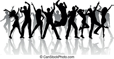 Silhouette of a large group of people dancing on a white background