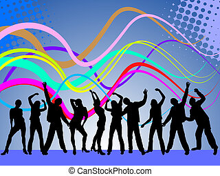 vector illustration of dancing people silhouettes on a disco background