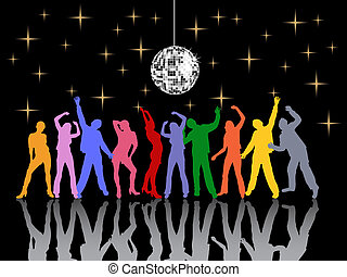 vector illustration of dancing people silhouettes under a silver mirror ball
