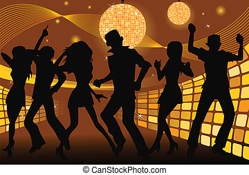 A vector silhouette illustration of young people partying and dancing in a disco club