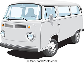 Vector isolated van, passenger and cargo, without gradients