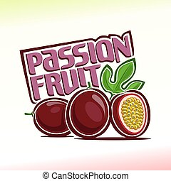 Vector illustration on the theme of the logo for passion fruit, consisting of ripe passion fruit with green leaf and slice of fruit