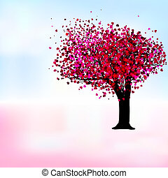 Passion tree with hearts, romantic template card. EPS 8 vector file included