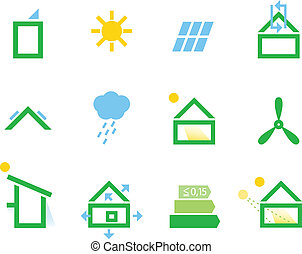 Passive house icons isolated on white