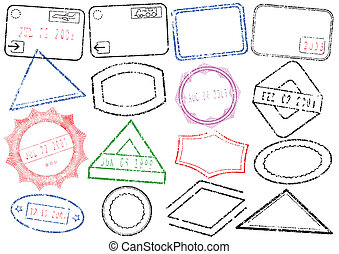 A set of different passport or post stamps. All vector objects and details are isolated and grouped. Stamps have transparent background. They can overlap each other. Colors and transparent background color are easy to remove, adjust or customize.