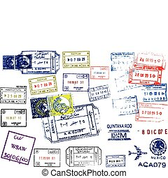 Passport Stamps. This image is a vector illustration and can be scaled to any size without loss of resolution.