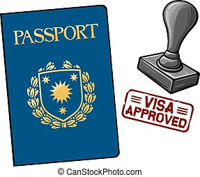 passport and seal with stamp - visa approved