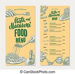 Pasta Restaurant Food Menu Vintage Template