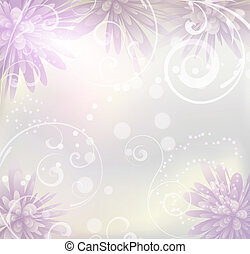 Pastel colored background with purple abstract flowers and floral swirls