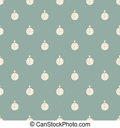 Pastel tones seamless pattern with white stopwatch ornament. Pastel blue background. Simple style.