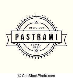 Pastrami sandwich vintage stamp