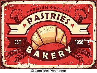 Pastries vintage bakery shop sign