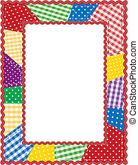 Gingham and polka dot quilted patchwork, rickrack picture frame. Copy space for scrapbooks, albums. announcements, posters, fliers, EPS8 in groups for easy editing.