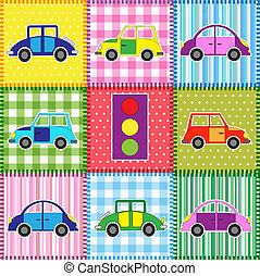 Patchwork with cartoon cars