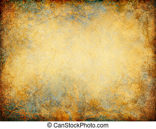 A vintage grunge background with patina-like colors, cracks, and golden brown and yellow paper textures.