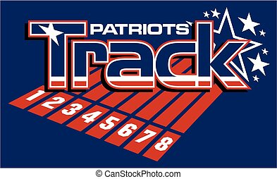 patriots track and field team design with stars for school, college or league