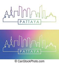 Pattaya skyline. Colorful linear style.