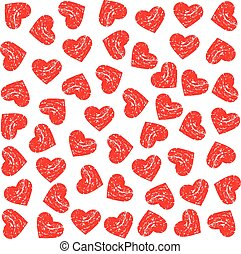 Pattern Scrached Hearts. Vector design graphic