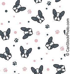 Pattern with French Bulldog and canine tracks