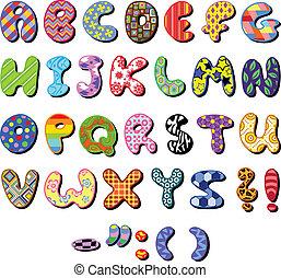 Colorful patterned alphabet set