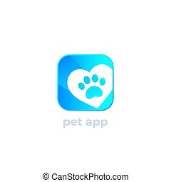 paw and heart, pet app vector logo