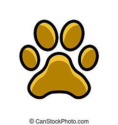 paw, animal track icon vector illustration isolated on white background