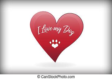 Paw dog love heart logo vector design